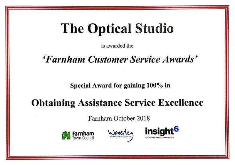 Optical Studio Customer Service Award Farnham